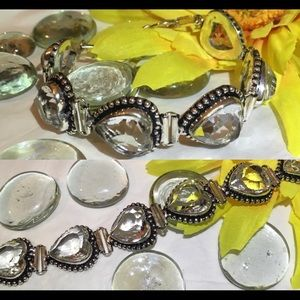 Sweet Sparkling White Topaz Linked Hearts Bracelet